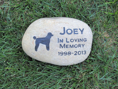 Personalized Pet Memorial Stone Grave Marker Poodle 9-10 Inch Memorial Burial Gravestone Cemetery Marker & Other Breeds - Pet Memorial Stones, Personalized Pet Stone Memorial Grave Marker, Dog Memorial, Cat Memorials, Pet Gravestone Markers, Headstone