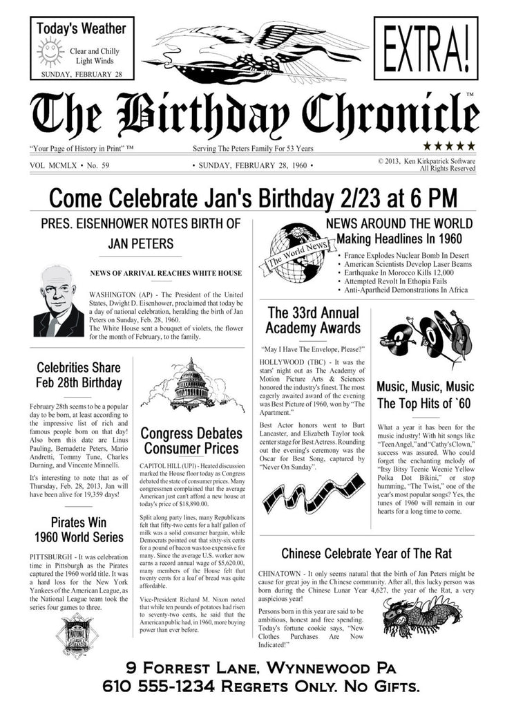 Personalized 70th Birthday Party Invitation 70T Time Capsule