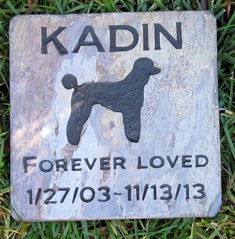Personalized Pet Memorial Stone Poodle & Other Dog Breeds 6 X 6 Inch Burial Grave Marker - Pet Memorial Stones, Personalized Pet Stone Memorial Grave Marker, Dog Memorial, Cat Memorials, Pet Gravestone Markers, Headstone