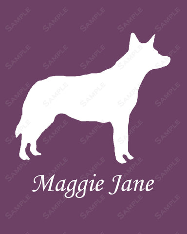 Personalized Australian Cattle Dog Silhouette Australian Cattle Dog Art Print 8 X 10 Australian Cattle Dog Pet Gifts