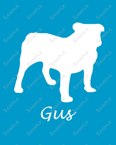 Personalized American Bulldog Dog Silhouette Bulldog Art Print 8 X 10 Bulldog Dog Print Pet Gifts