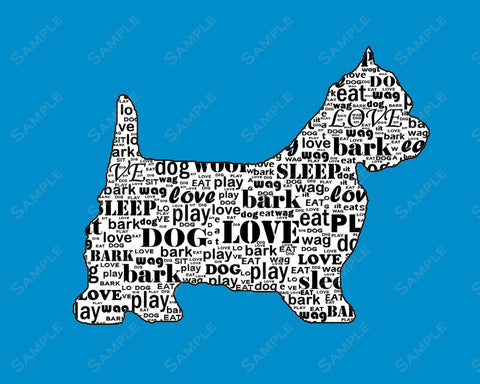 Personalized Westie Dog Silhouette Westie Gift Art Print 8 X 10 Westie Dog Pet Gifts