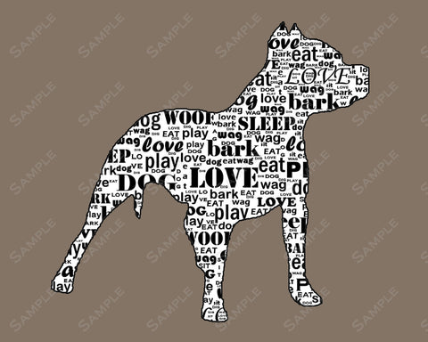 PERSONALIZED Pitbull Dog Word Art Pitbull Print 8 X 10 Pitbull Dog Print Pet Gifts