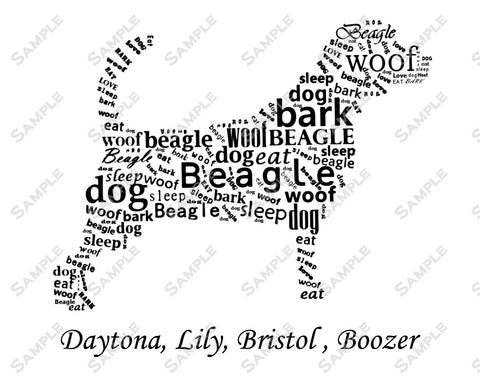 Personalized Beagle Word Art Beagle 8 x 10 Print Beagle Dog Pet Gifts