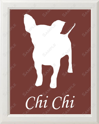 Personalized Chihuahua Dog Chihuahua Silhouette Art Print 8 X 10 Chihuahua Dog Pet Gifts