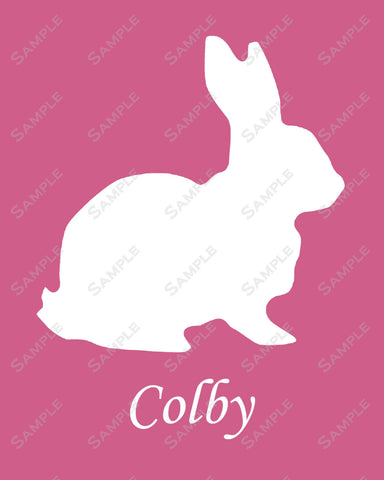 Personalized Bunny Rabbit Silhouette Art Print 8 X 10 Rabbit Print Pet Gifts
