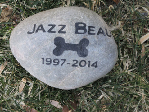 Pet Memorial Stone Garden Memorial Grave Marker Headstone with Bone 6-7 Inch Cemetery Burial Tombstone Grave Marker