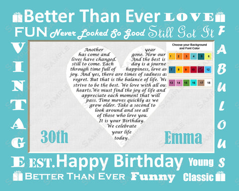 30th Birthday Poem, Thirty Birthday Gifts 8 x 10 Print