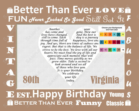 Birthday Love Poem. Eighty Birthday Print 8 X 10. 80th Birthday Gift Ideas