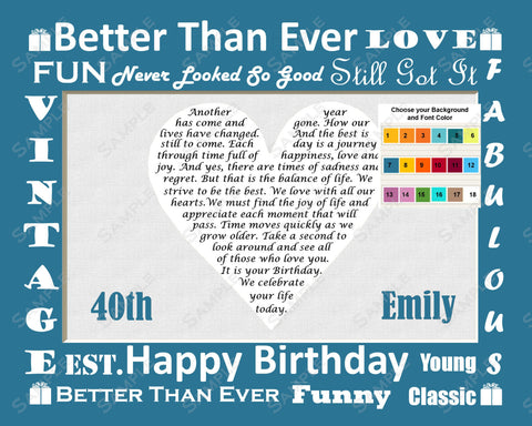 40th Birthday Poem 8 X 10 Print. Forty Birthday Gifts. Over the Hill Gift Ideas