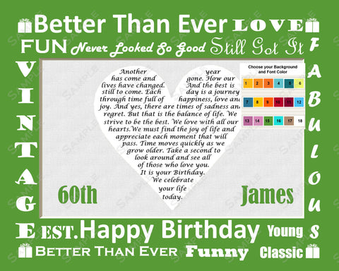 Personalized 60th Birthday Gift Poem Heart Print 8 X 10 60th Birthday Gift Ideas