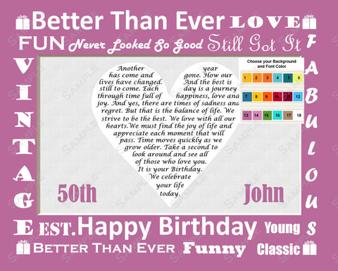 50th Birthday Gift. 50th Poem Heart Print 8 X 10 Fifty Birthday Gift Ideas
