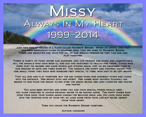 Personalized Pet Memorial Rainbow Bridge Poem Pet Memorials 8 X 10 Pri