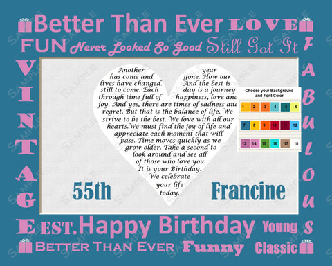 Personalized 25th, 35th, 45th. 55th, 65th, 75th, 85th, 95th or Any Birthday Gift Birthday Poem Heart Print 8 X 10 Birthday Gifts