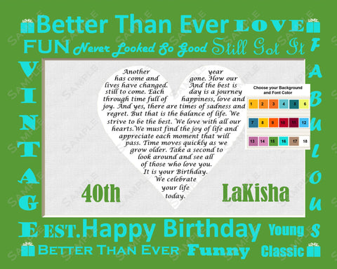 40th Birthday Gifts. 40th Birthday Poem Heart Print 8 X 10 Print