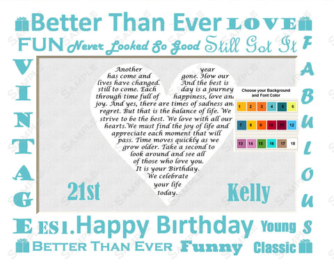 Personalized 21st Birthday Gift 21st Birthday Gift Heart Poem 8 X 10 Print Twenty One Birthday Gift Ideas