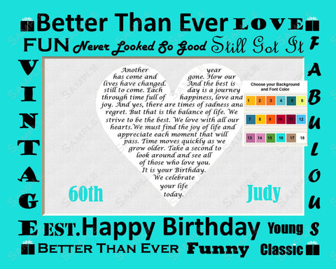 PERSONALIZED 60th Birthday Gift 60th Birthday Poem Heart 8 X 10 Print Sixty Birthday Gift Ideas