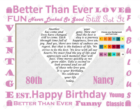 80th Birthday Gift Ideas. 80th Birthday Poem Heart Print 8 X 10 - Eighty Birthday Gift Ideas