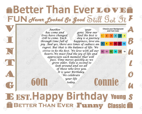 60th Birthday Gift Poem 60th Birthday Heart Print 8 X 10 -Sixty Birthday Gift Ideas