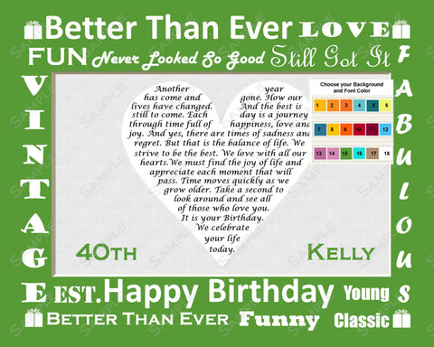 40th Birthday Poem. 40th Birthday Heart Gift Print 8 X 10 - Forty Birthday Gifts