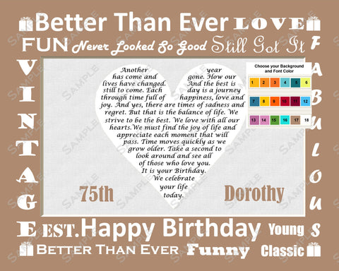 Personalized 75th Birthday Gift 75th Birthday Love Poem Heart 8 X 10 Print Seventy Five Birthday Gift Ideas