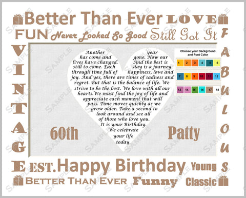 60th Birthday Poem Heart - Sixty Birthday 8 X 10 Print
