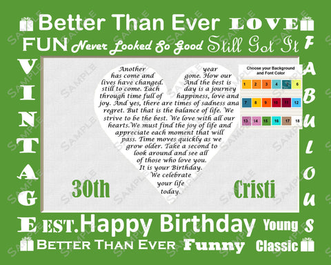 Personalized 30th Birthday Gift 30 Birthday Poem Heart Print 8 X 10 Thirty Birthday Gifts