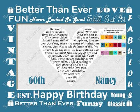 60th Birthday Poem. Gift for Her, Him Mom, Dad. Sixty Year Old Birthday Gifts 8 x 10 Print
