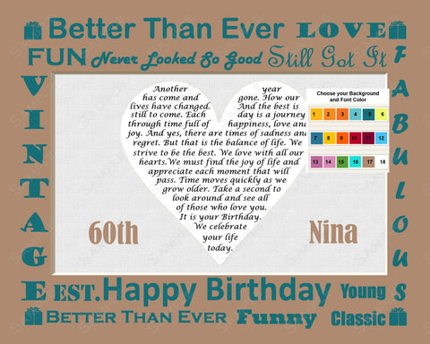 Personalized 60th Birthday Gift Poem 60th Birthday Heart 8 X 10 Print Sixty Birthday Gift Ideas