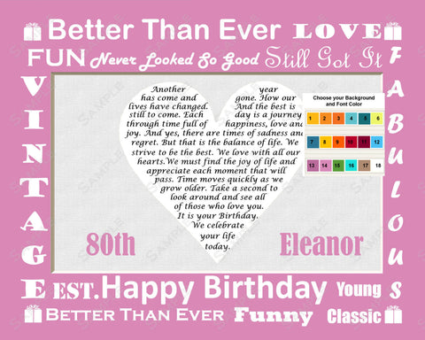 80th Birthday Gift 80th Birthday Poem Heart Eighty Birthday 8 X 10 Print -DesignbyWord.Com