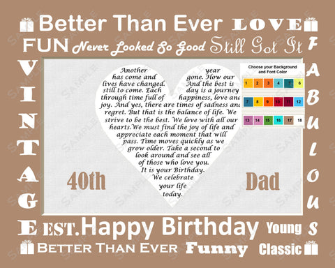 Personalized Birthday Gift For Dad Love Poem Heart 8 X 10 Print
