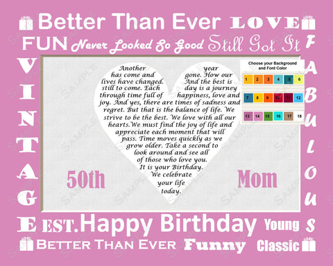 Fun Personalized Birthday Gift for Mom Birthday Gift for Mom Birthday Poem Print 8 X 10 - Gifts for Mother -DesignbyWord.Com