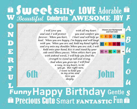 Personalized 1st, 2nd, 3rd, 4th, 5th Birthday Gift st, 2nd, 3rd, 4th, 5th Heart Love Poem Birthday or Any Birthday Print 8 X 10