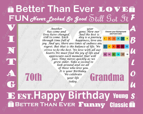 Fun Personalized Birthday Gift for Grandma Grandmom Grandmother Grandparents Love Poem Heart Print 8 X 10