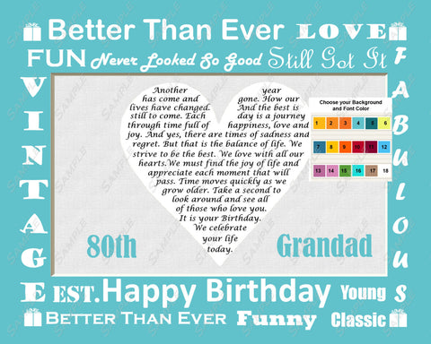 Fun Personalized Birthday Gift for Grandpa Grandad Grandfather Grandparents Love Poem Heart Print 8 X 10