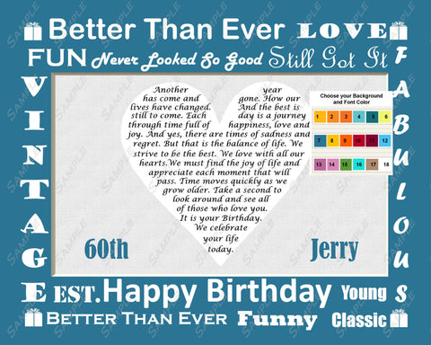 60th Birthday Gift. Sixty Birthday Love Poem. 8 X 10 Print