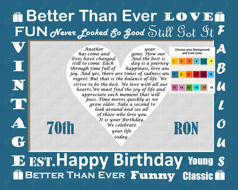70th Birthday Love Poem 8 X 10 Print