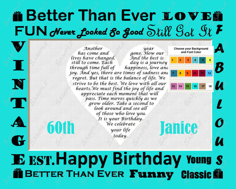 Fun and Unique 60th Birthday Gift 60th Birthday Love Poem Heart Personalized Print 8 X 10 - Sixty Birthday Gift Ideas