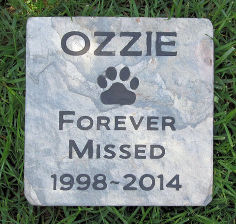 Personalized Mutt Dog Memorial Stone Garden Pet Memorial Stone 6 X 6 Slate Memorial Stone Gravestone Headstone Marker - Pet Memorial Stones, Personalized Pet Stone Memorial Grave Marker, Dog Memorial, Cat Memorials, Pet Gravestone Markers, Headstone