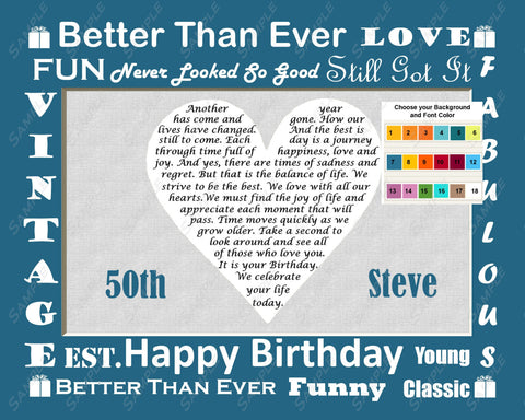50th Birthday Gift Love Poem. 50th Birthday Gift Heart 8 X 10 Print. Fifty Birthday Gift Ideas