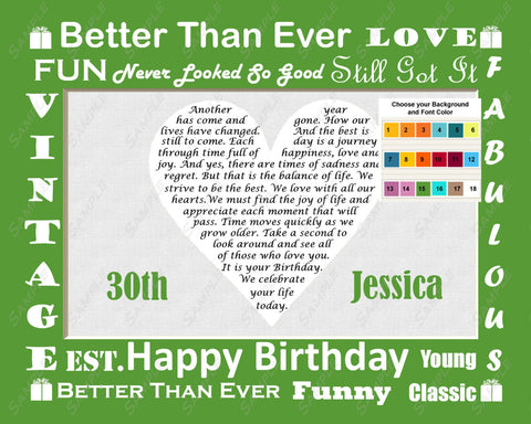 Personalized 30th Birthday Gift 30th Love Poem Heart Print 8 X 10 30th Birthday Gift Print