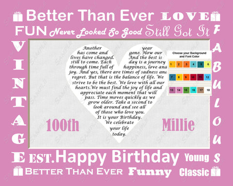 100th Birthday Gifts.  100th Birthday Love Poem Heart Print 8 X 10.  100th Birthday Gift Ideas