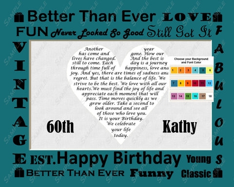 Personalized 60th Birthday Gift 60th Birthday Love Poem - Sixty Birthday Gift Heart Print 8 X 10 Fun Unique Cute