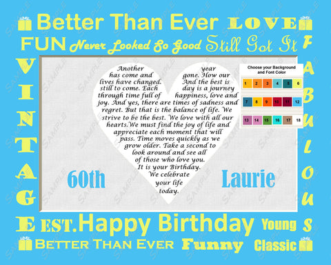 60th Birthday Gift. Personalized Love Poem Heart 60th 8 X 10 Print