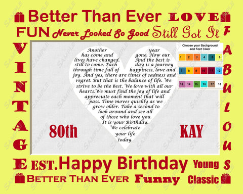 Personalized 80th Birthday Gift Eighty Birthday Love Poem Heart - 80th Gift Ideas Print 8 X 10