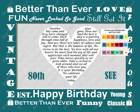 Personalized 80th Birthday Gift 80th Love Poem Heart - Eighty Birthday Gift Ideas 8 x 10 Print