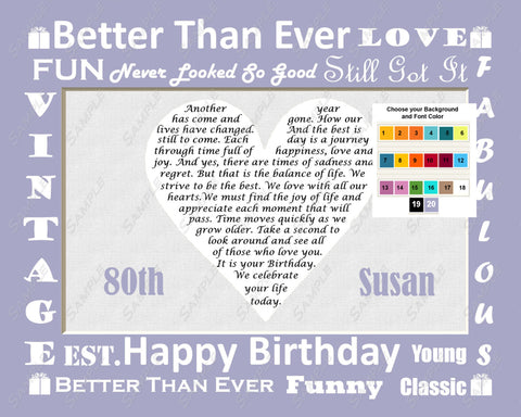 Personalized 80th Birthday Gift 80th Birthday Poem Gift  8 X 10 Print 80 Birthday Gift Ideas