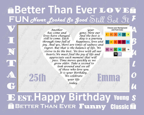 25th Birthday Gift Poem. Unique 25th Birthday Gift Ideas 8 X 10 Print