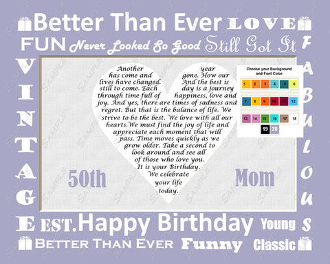Personalized Gift for Mom Birthday Gift Personalized Mother Birthday Poem 8 X 10 Print