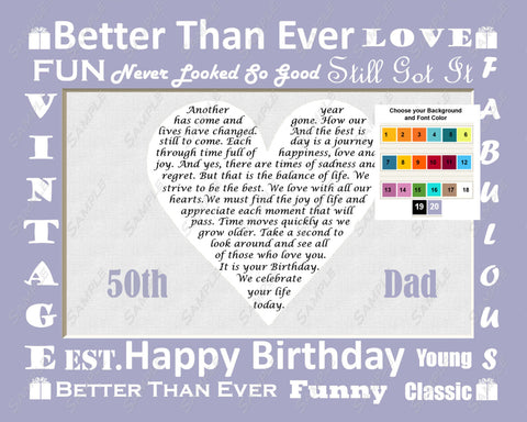 Personalized Gift For Dad Birthday Poem 8 X 10 Print